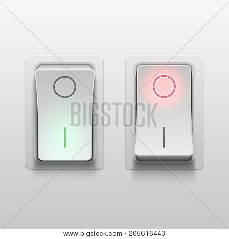Realistic 3d electric toggle switches vector illustration. Electric light realistic switch control