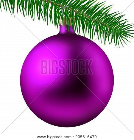 Realistic Pink Matte Christmas Ball Or Bauble With Fir Branch Isolated On White Background. Vector I