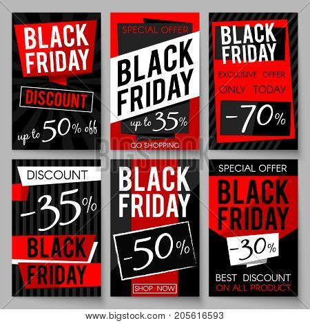 Black Friday sale advertising posters vector template with best price and offer. Black friday sale banner, special offer shopping illustration