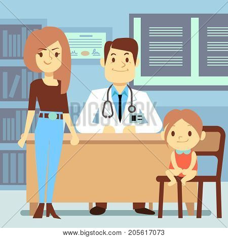 Baby girl and her mother visiting pediatrician - kids medicine concept. Medical doctor visit, medicine and health, vector illustration