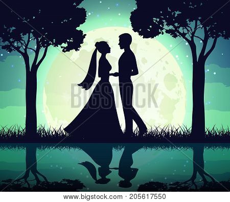 Silhouettes of the bride and groom on the moon background. Romance night man and woman in moonlight, vector illustration