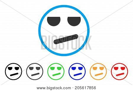 Bored Smile rounded icon. Style is a flat bored smile gray symbol inside light blue circle with black, gray, green, blue, red, orange color versions. Vector designed for web and software interfaces.
