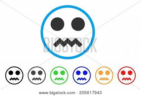 Fright Smile rounded icon. Style is a flat fright smile gray symbol inside light blue circle with black, gray, green, blue, red, orange variants. Vector designed for web and software interfaces.