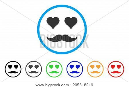 Lover Smile rounded icon. Style is a flat lover smile gray symbol inside light blue circle with black, gray, green, blue, red, orange color versions. Vector designed for web and software interfaces.