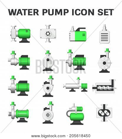 Vector icon of water pump station for water treatment isolated on white background.