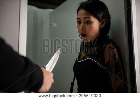 Asian Scared Girl Threatened By Terroriist  Knife