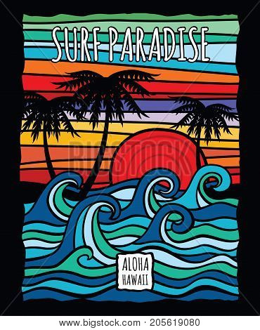 Vintage hawaii aloha surf graphic with ocean waves and palm trees vector t-shirt design. Surf ocean wave and palm, tree in color vintage style illustration