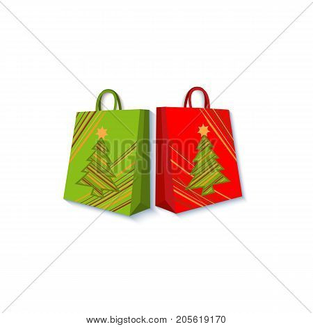 Shopping bag set decorated with Christmas trees, gift, present boxes, paper cut decoration element, flat style vector illustration on white background. Christmas present, gift in form of shopping bag
