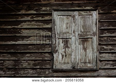 Old Grunge Wooden Window Of Thai House