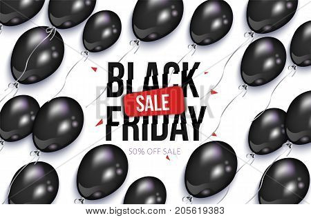 Black Friday rectangular horizontal sale banner, flyer design with balloons, vector illustration on white background. Black Friday sale banner, flyer, poster template