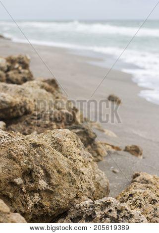 Erosion Protection Rocks on the shore beach.