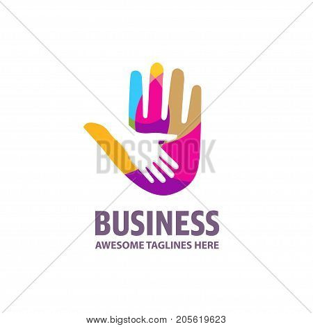 Family mother and baby hands. Care logo, togetherness concept logo. Union abstract hands logo. Hands closeup vector. Abstract hands logo