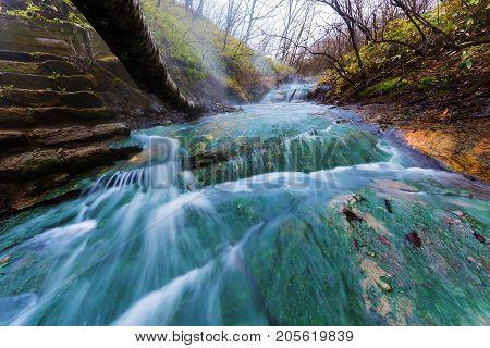 Oyunumagawa Hot Spring Waterfall, Noboribetsu