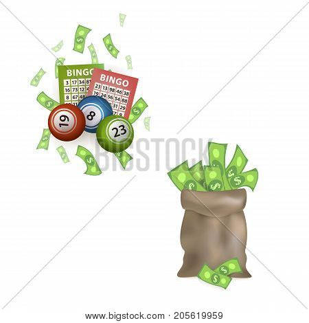 vector flat bingo cartoon lottery tickets, lotto keno jackpot number balls and dollar money sack, bag set. Isolated illustration on a white background. Sign of profit, casino design poster