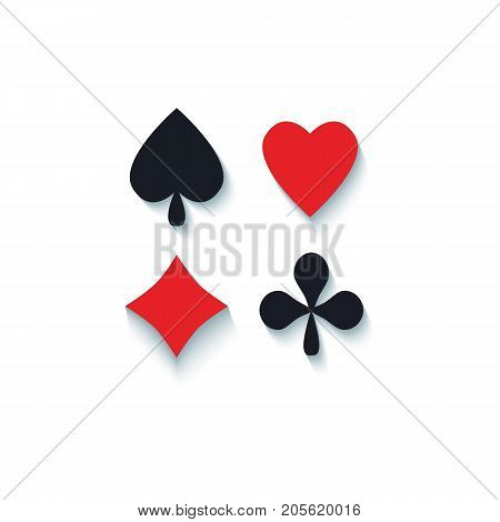Set of flat playing card suit signs - hearts, spades, clubs, diamonds, flat cartoon vector illustration with shadows isolated on white background. Playing card suits - hearts, spades, clubs, diamonds