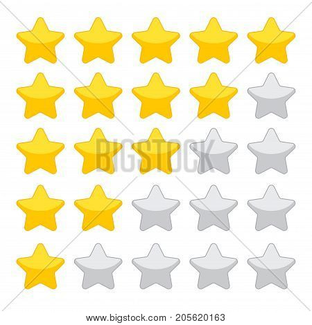 Stars rating isolated on white background. Five stars rating.