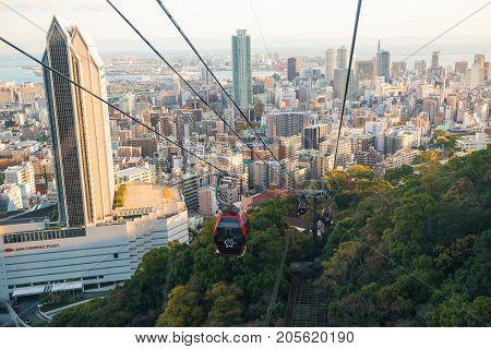 Shin-kobe Ropeway Cable Car With City View