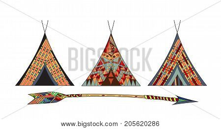 Cartoon Wigwams or Tepees Icons Set Native Indian Home.