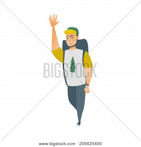 vector flat cartoon young man hiking tourist waving his hand smiling wearing backpack, watches cap and t-shirt with spruce tree print. Isolated illustration on a white background.