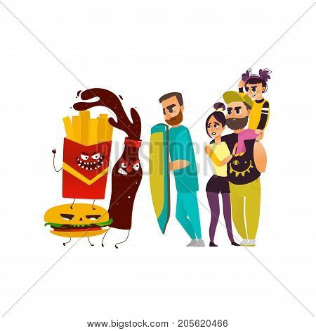 vector flat cartoon male doctor holding shield protecting patients family from mental illness - obesity, fighting with angry fastfood. Isolated illustration on a white background
