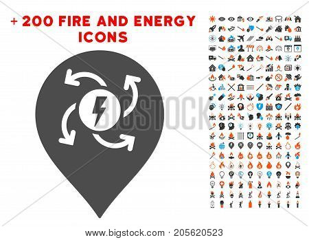 Electric Motor Marker pictograph with bonus energy pictures. Vector illustration style is flat iconic symbols for web design, application ui.