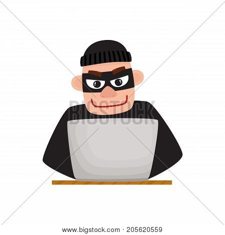 Hacker in black mask using laptop for computer attack, cartoon vector illustration isolated on white background. Computer hacker in disguise working on laptop, laughing