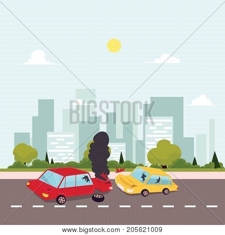 vector flat cartoon car crash, accident scene. One vehicle lost its wheel, and both have dents, broken glasses, scratches. Illustration on the background of big city with buildings at sunny day.