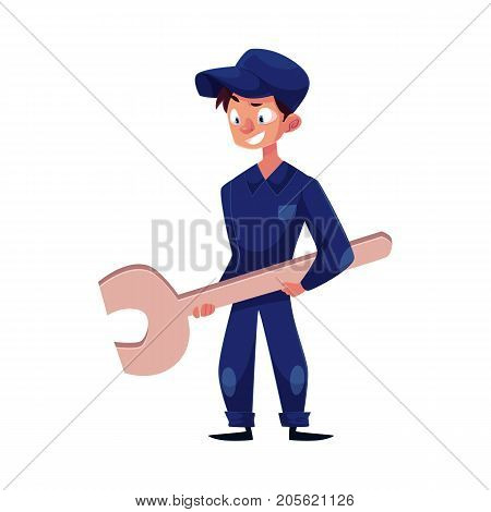 vector flat cartoon funny young man, boy mechanic in blue uniform holding big wrench in hands smiling. Male full lenght portrait caucasian character isolated, illustration on a white background.