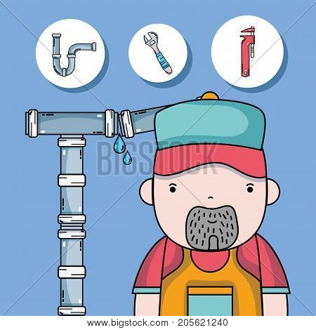 plumber repair with mechanical tools vector illustration