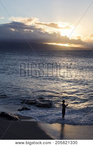 island life at sunset on the ocean shore in maui hawaii