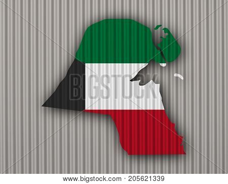 Map And Flag Of Kuwait On Corrugated Iron