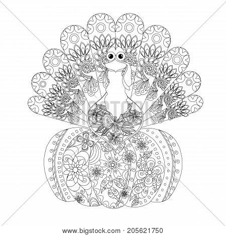 Doodle style sketch of turkey on pumpkin, thin black line on white stock vector illustration