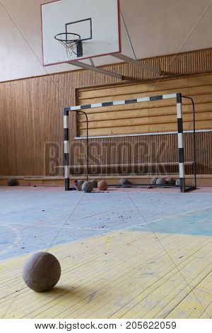 Pyramiden Norway - August 2017: Interior of a gym in sport and cultural center in the abandoned Soviet/ Russian settlement Pyramiden in Svalbard archipelago