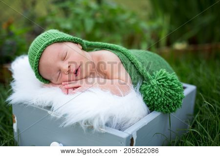 Little Sweet Newborn Baby Boy, Sleeping In Crate With Wrap And Hat