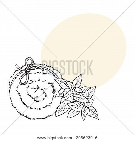 Top view of rolled up fluffy green towel, spa salon accessory, black and white outline vector illustration with space for text. Realistic hand drawing of towel roll, spa salon accessory