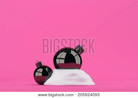 Black and white christmas balls in the snow on bright pink background. 3d rendering