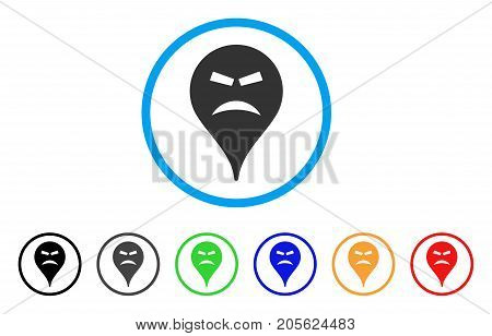 Furious Smiley Map Marker rounded icon. Style is a flat furious smiley map marker grey symbol inside light blue circle with black, gray, green, blue, red, orange versions.