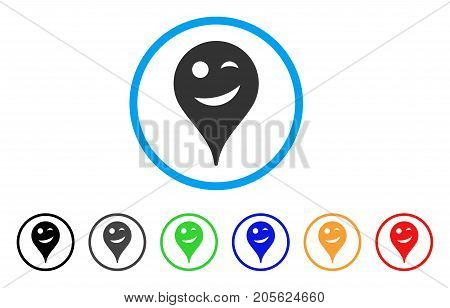 Joke Smiley Map Marker rounded icon. Style is a flat joke smiley map marker gray symbol inside light blue circle with black, gray, green, blue, red, orange variants.