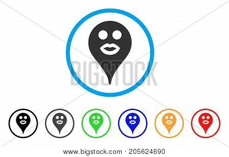Kiss Smiley Map Marker rounded icon. Style is a flat kiss smiley map marker gray symbol inside light blue circle with black, gray, green, blue, red, orange color versions.