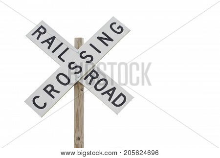 an isolated rail road crossing sign on white background.