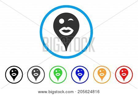 Lady Wink Smiley Map Marker rounded icon. Style is a flat lady wink smiley map marker grey symbol inside light blue circle with black, gray, green, blue, red, orange variants.