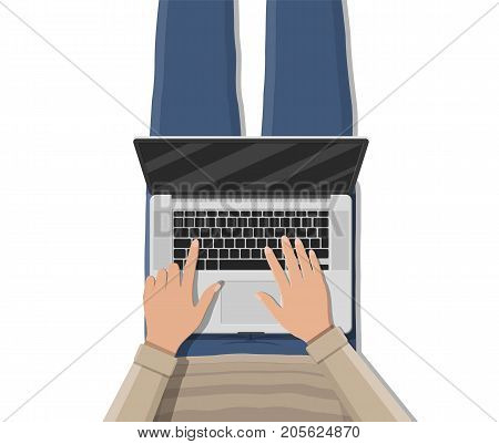 Man lying on sofa couch and using laptop. Relaxation, leisure, rest, relax. Freelancer works with laptop, top view. Vector illustration in flat style