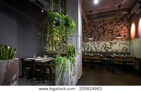 Moscow - August 5, 2017: Interior of a Thai restaurant with plants