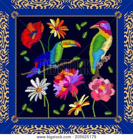 Silk scarf with parrots and flowers. Stylized embroidered texture. Vintage textile collection.