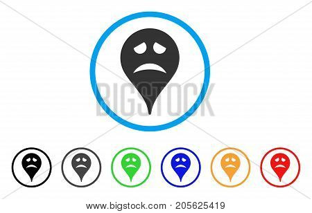 Sadly Smiley Map Marker rounded icon. Style is a flat sadly smiley map marker grey symbol inside light blue circle with black, gray, green, blue, red, orange color versions.