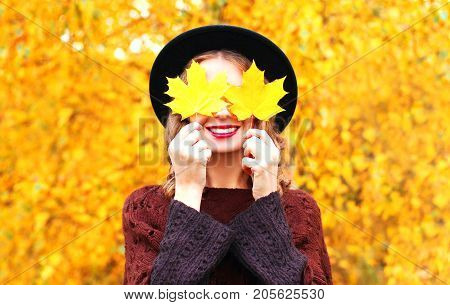 Autumn Portrait Smiling Woman Hides Her Eyes Maple Yellow Leaves In Black Hat