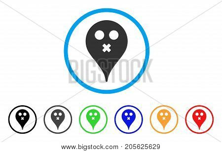 Silence Smiley Map Marker rounded icon. Style is a flat silence smiley map marker grey symbol inside light blue circle with black, gray, green, blue, red, orange versions.