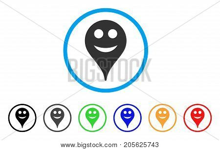 Smile Smiley Map Marker rounded icon. Style is a flat smile smiley map marker grey symbol inside light blue circle with black, gray, green, blue, red, orange color versions.