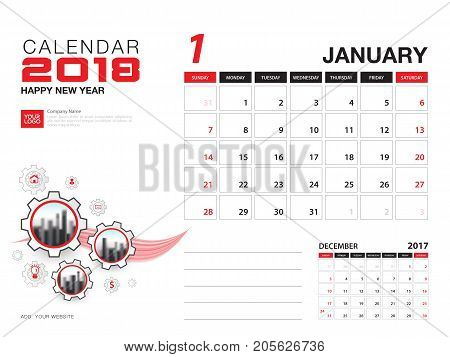 Desk calendar 2018 template. JANUARY 2018 month. Planner. Week starts on Sunday. Stationery design. advertisement. flyer. vector layout