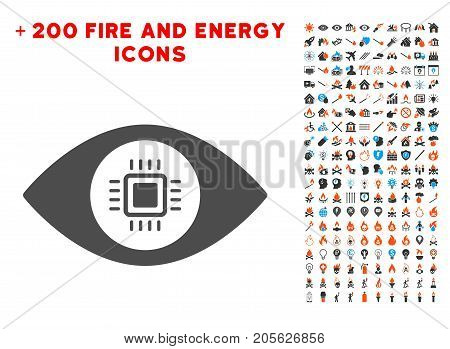 Electronic Vision Lens pictograph with bonus flame clip art. Vector illustration style is flat iconic elements for web design, application user interface.